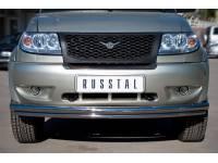 Защита переднего бампера D63/42 (дуга) на УАЗ Патриот до 2014г.